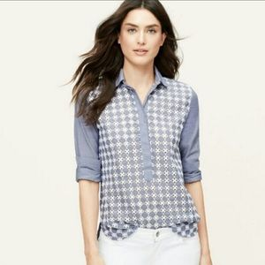 Loft The Softened Shirt Eyelet Chambray